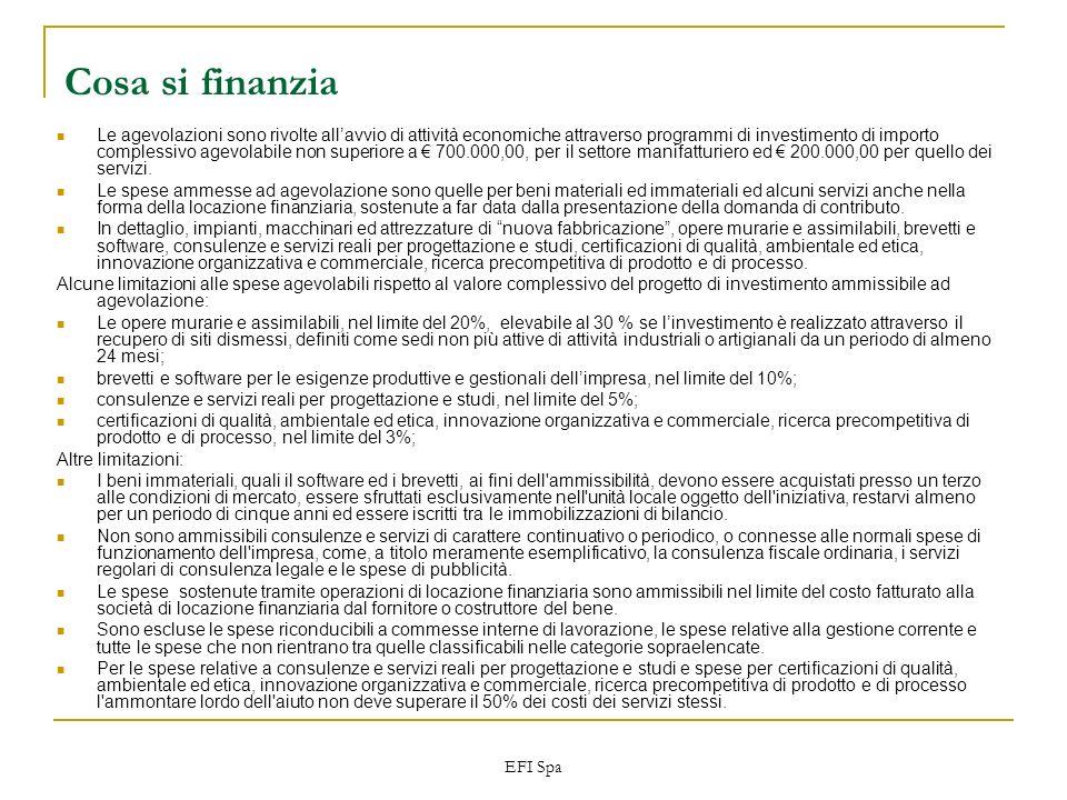 EFI Spa Cosa si finanzia Le agevolazioni sono rivolte allavvio di attività economiche attraverso programmi di investimento di importo complessivo agev
