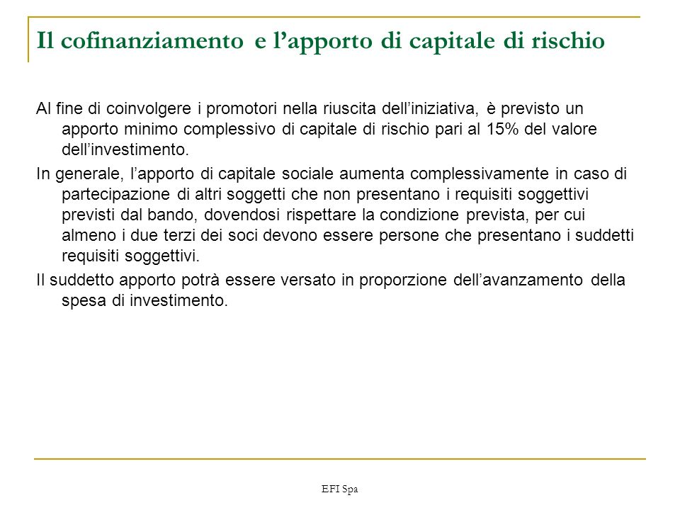 EFI Spa Il cofinanziamento e lapporto di capitale di rischio Al fine di coinvolgere i promotori nella riuscita delliniziativa, è previsto un apporto m