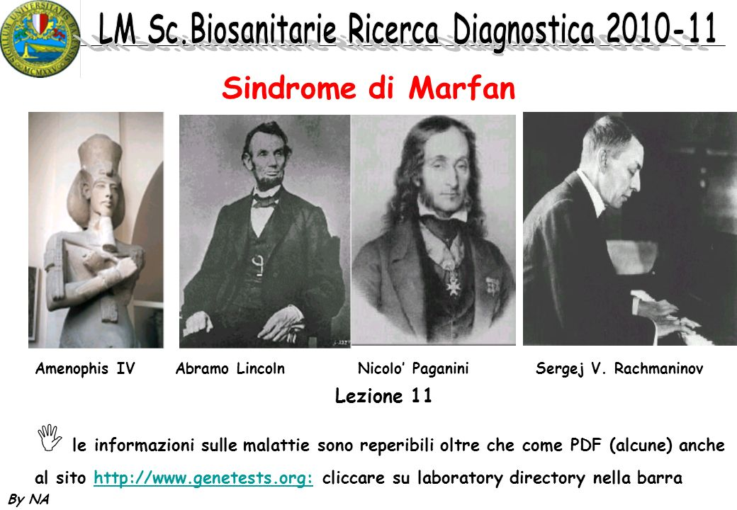 By NA Sindrome di Marfan Lezione 11 le informazioni sulle malattie sono reperibili oltre che come PDF (alcune) anche al sito http://www.genetests.org: