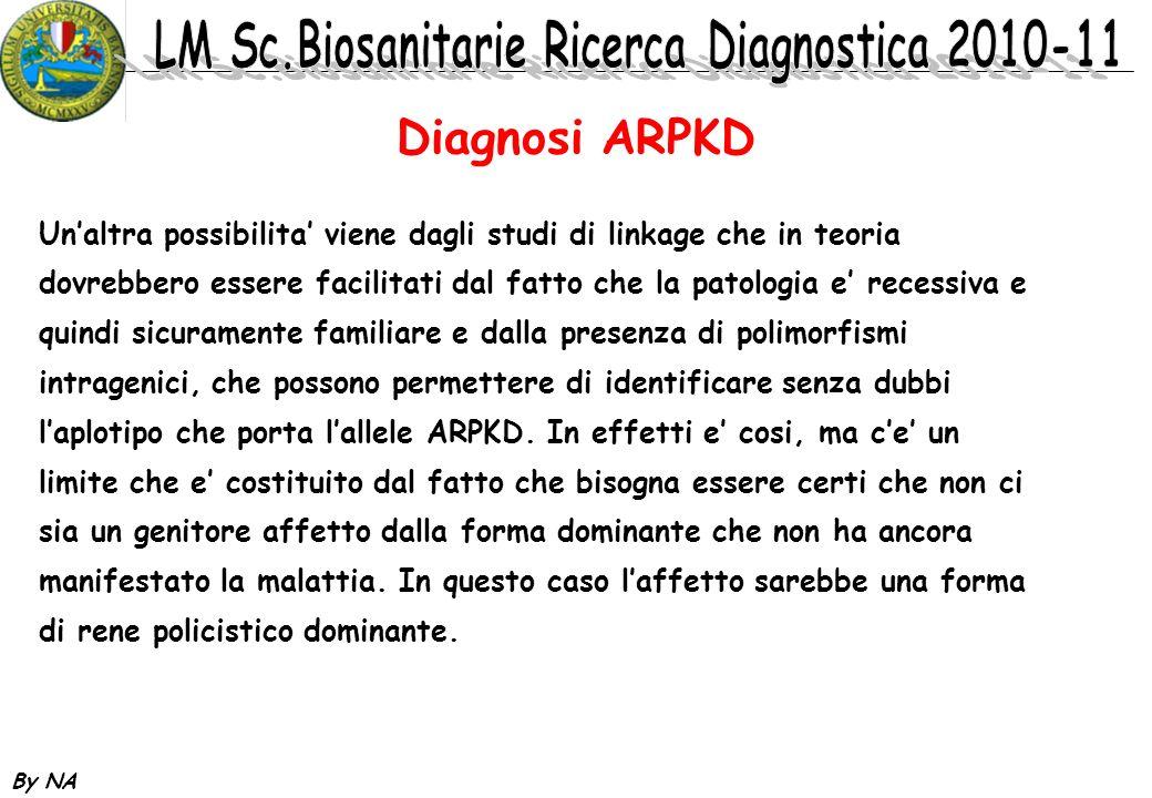 By NA Diagnosi ARPKD Unaltra possibilita viene dagli studi di linkage che in teoria dovrebbero essere facilitati dal fatto che la patologia e recessiv