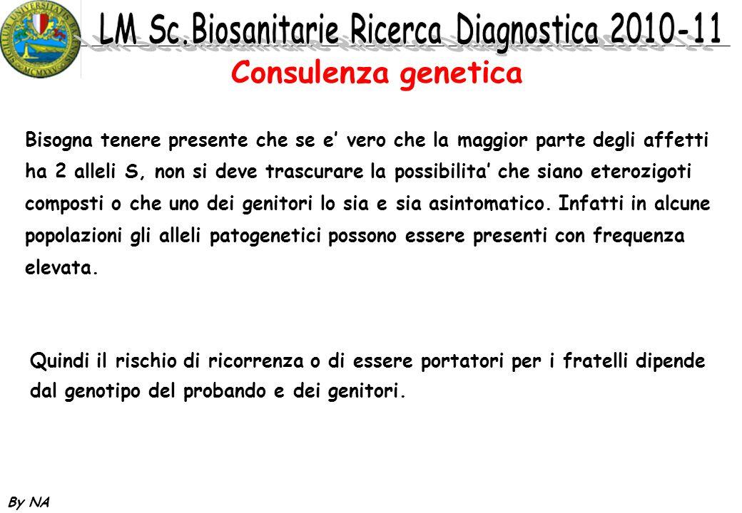 By NA Consulenza genetica Bisogna tenere presente che se e vero che la maggior parte degli affetti ha 2 alleli S, non si deve trascurare la possibilit