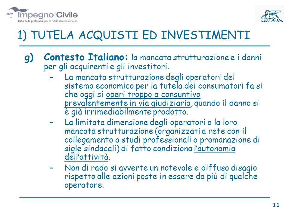 g)Contesto Italiano: la mancata strutturazione e i danni per gli acquirenti e gli investitori.