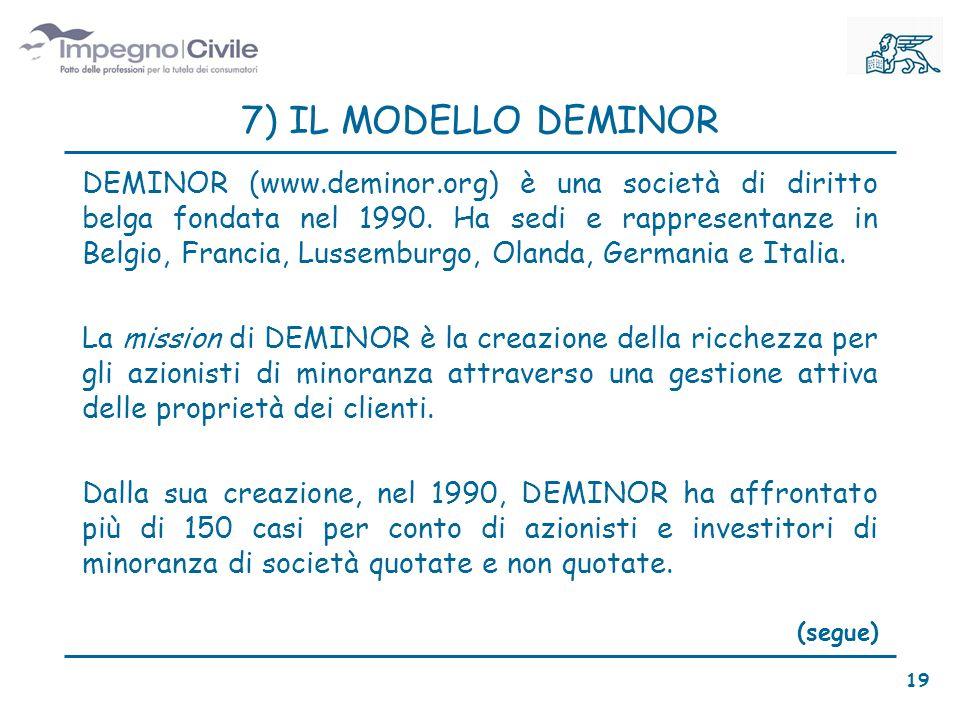 7) IL MODELLO DEMINOR DEMINOR (www.deminor.org) è una società di diritto belga fondata nel 1990.