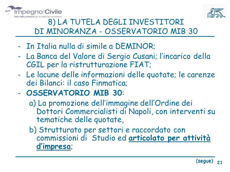 8) LA TUTELA DEGLI INVESTITORI DI MINORANZA - OSSERVATORIO MIB 30 -In Italia nulla di simile a DEMINOR; -La Banca del Valore di Sergio Cusani; lincarico della CGIL per la ristrutturazione FIAT; -Le lacune delle informazioni delle quotate; le carenze dei Bilanci: il caso Finmatica; -OSSERVATORIO MIB 30: a) La promozione dellimmagine dellOrdine dei Dottori Commercialisti di Napoli, con interventi su tematiche delle quotate, b) Strutturato per settori e raccordato con commissioni di Studio ed articolato per attività dimpresa; (segue) 21