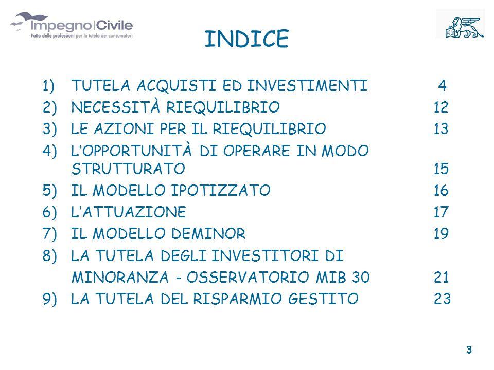 INDICE 1)TUTELA ACQUISTI ED INVESTIMENTI 4 2)NECESSITÀ RIEQUILIBRIO 12 3)LE AZIONI PER IL RIEQUILIBRIO 13 4)LOPPORTUNITÀ DI OPERARE IN MODO STRUTTURATO 15 5)IL MODELLO IPOTIZZATO 16 6)LATTUAZIONE 17 7)IL MODELLO DEMINOR 19 8)LA TUTELA DEGLI INVESTITORI DI MINORANZA - OSSERVATORIO MIB 30 21 9)LA TUTELA DEL RISPARMIO GESTITO 23 3