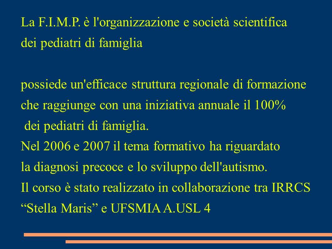 La F.I.M.P. è l'organizzazione e società scientifica dei pediatri di famiglia possiede un'efficace struttura regionale di formazione che raggiunge con