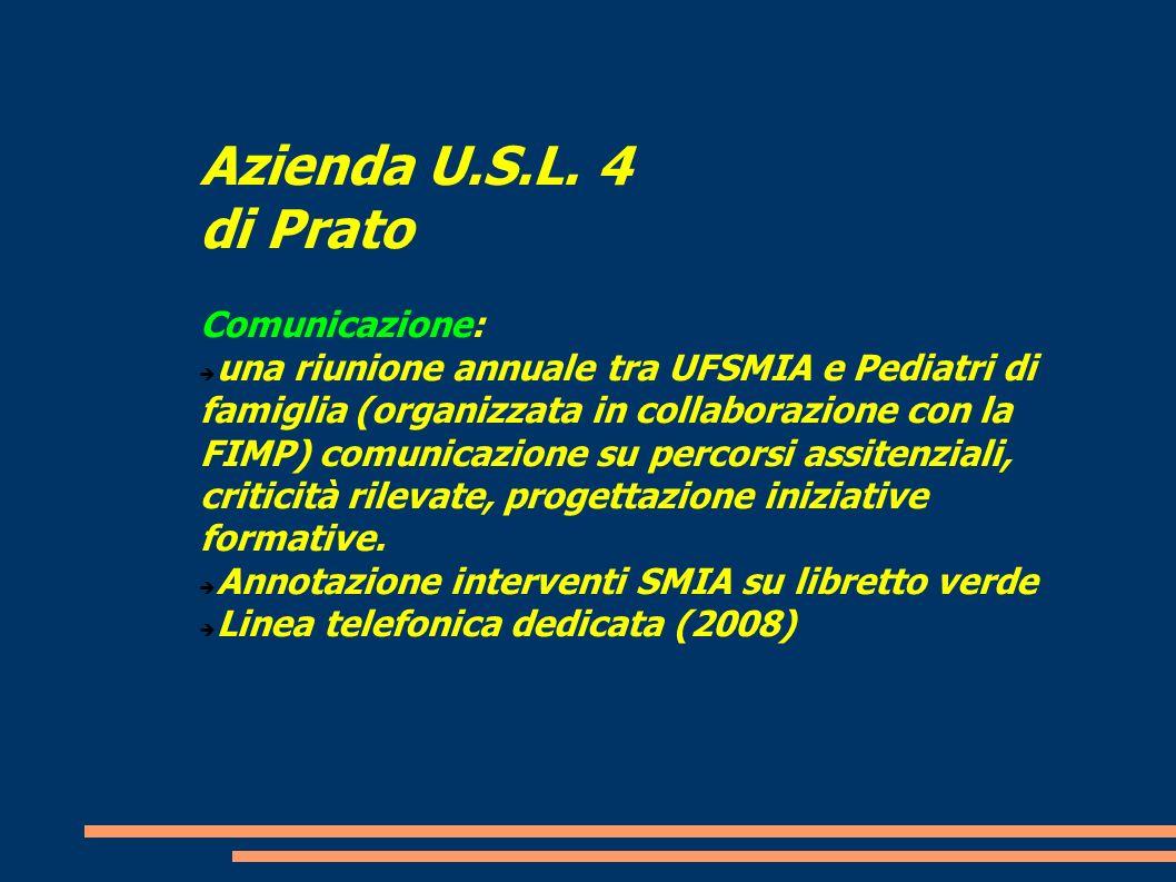 Azienda U.S.L. 4 di Prato Comunicazione: una riunione annuale tra UFSMIA e Pediatri di famiglia (organizzata in collaborazione con la FIMP) comunicazi