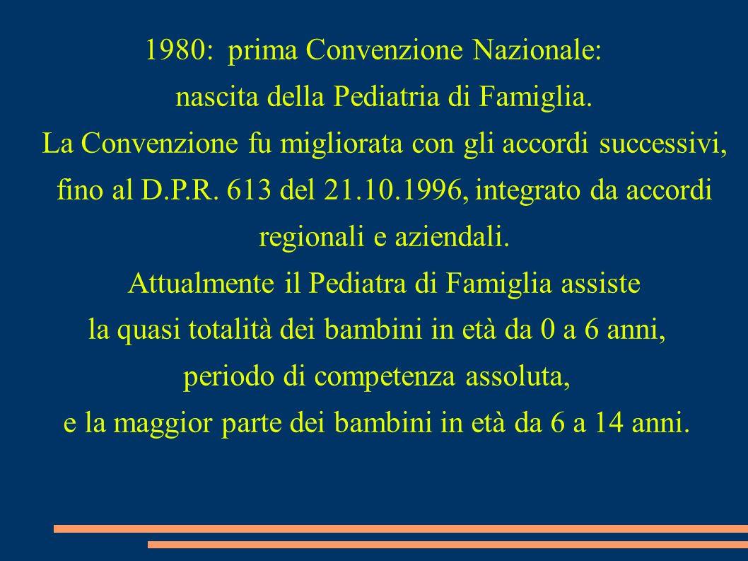 1980: prima Convenzione Nazionale: nascita della Pediatria di Famiglia. La Convenzione fu migliorata con gli accordi successivi, fino al D.P.R. 613 de