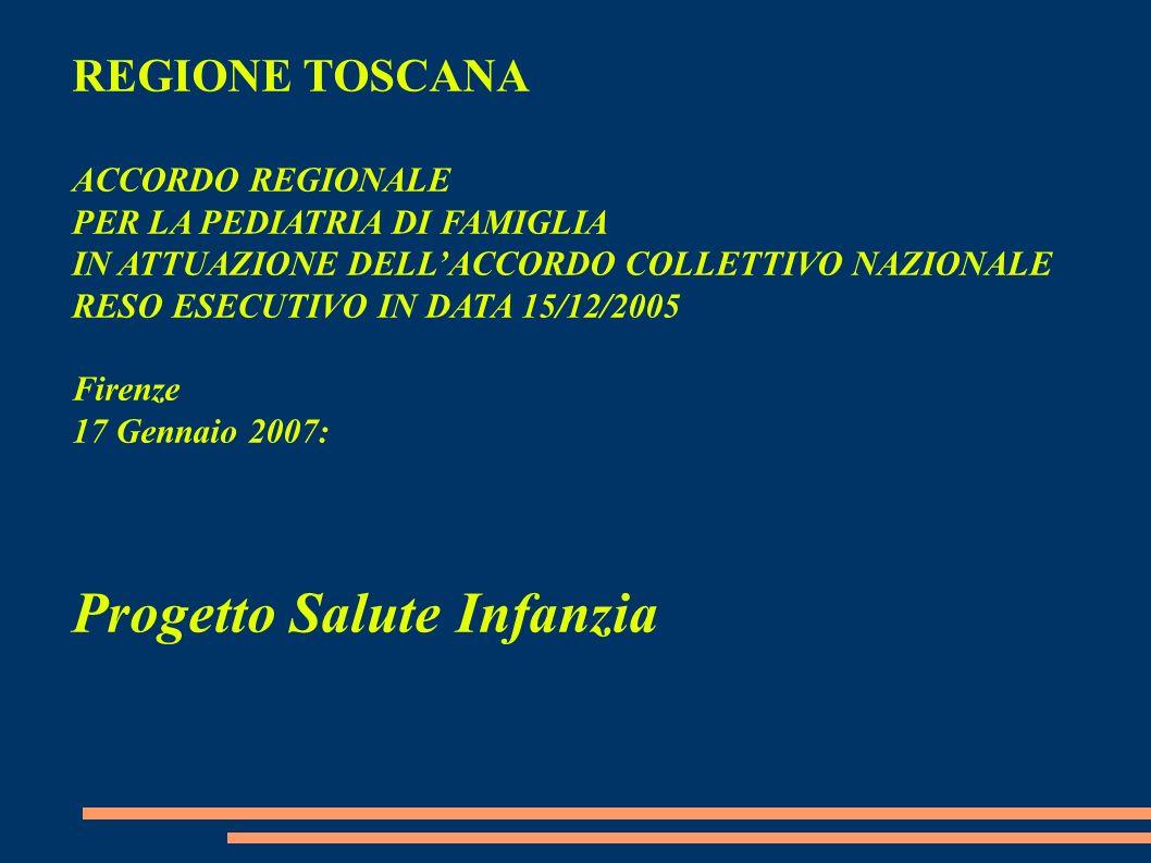 REGIONE TOSCANA ACCORDO REGIONALE PER LA PEDIATRIA DI FAMIGLIA IN ATTUAZIONE DELLACCORDO COLLETTIVO NAZIONALE RESO ESECUTIVO IN DATA 15/12/2005 Firenz