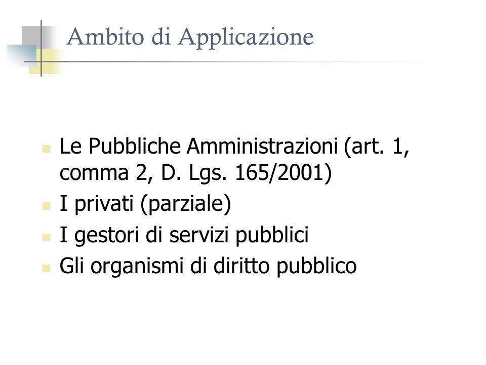 Ambito di Applicazione Le Pubbliche Amministrazioni (art. 1, comma 2, D. Lgs. 165/2001) I privati (parziale) I gestori di servizi pubblici Gli organis