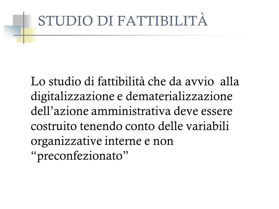 STUDIO DI FATTIBILITÀ Lo studio di fattibilità che da avvio alla digitalizzazione e dematerializzazione dellazione amministrativa deve essere costruit