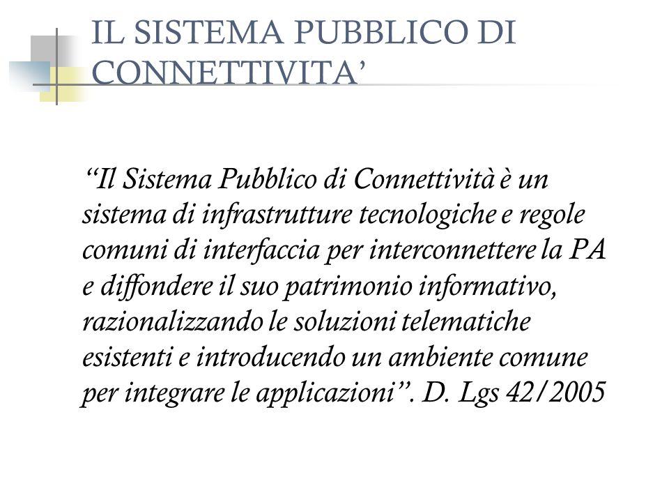 IL SISTEMA PUBBLICO DI CONNETTIVITA Il Sistema Pubblico di Connettività è un sistema di infrastrutture tecnologiche e regole comuni di interfaccia per