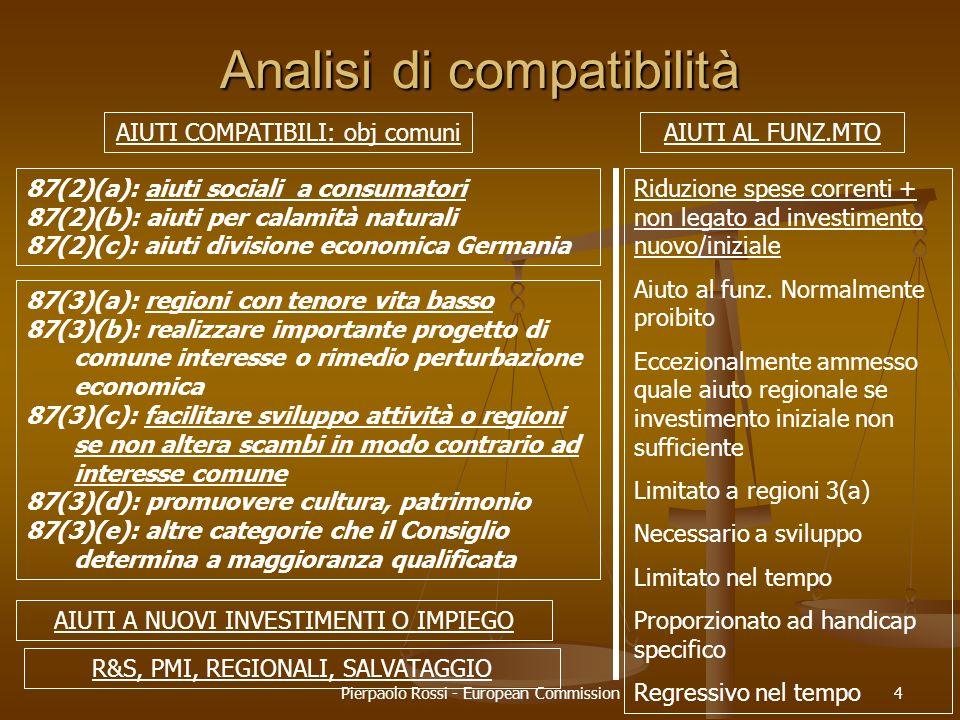 Pierpaolo Rossi - European Commission4 Analisi di compatibilità AIUTI COMPATIBILI: obj comuniAIUTI AL FUNZ.MTO 87(2)(a): aiuti sociali a consumatori 8