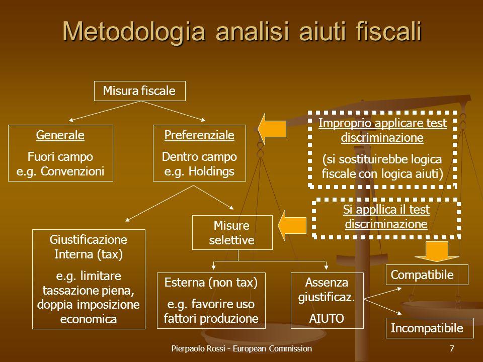 Pierpaolo Rossi - European Commission7 Metodologia analisi aiuti fiscali Misura fiscale Generale Fuori campo e.g. Convenzioni Preferenziale Dentro cam