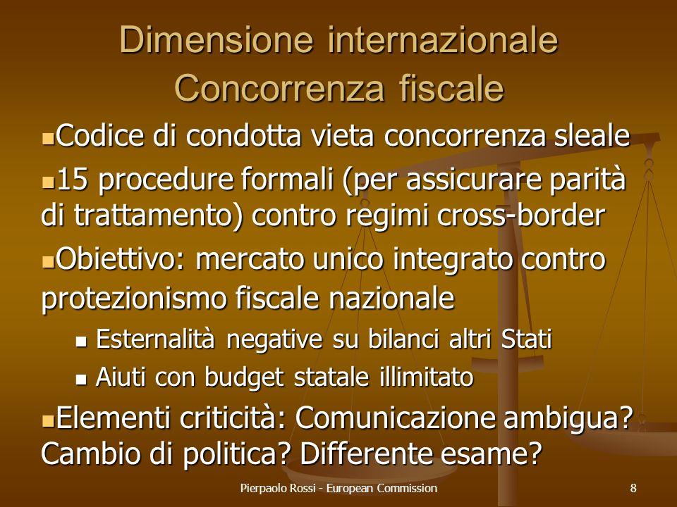 Pierpaolo Rossi - European Commission8 Dimensione internazionale Concorrenza fiscale Codice di condotta vieta concorrenza sleale Codice di condotta vi