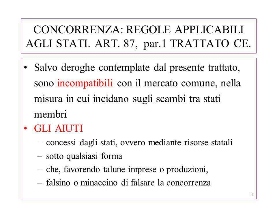 1 CONCORRENZA: REGOLE APPLICABILI AGLI STATI. ART.