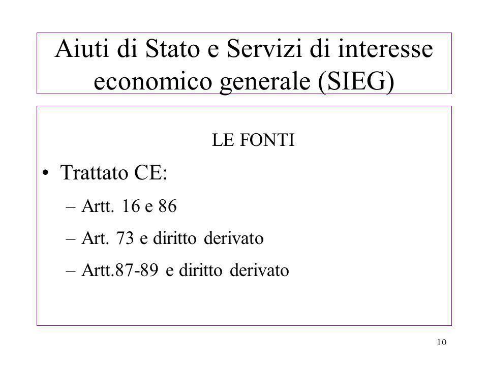 10 Aiuti di Stato e Servizi di interesse economico generale (SIEG) LE FONTI Trattato CE: –Artt.
