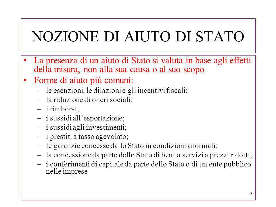 4 NOZIONE DI AIUTO DI STATO Aiuti fiscali (Comunicazione Comm.