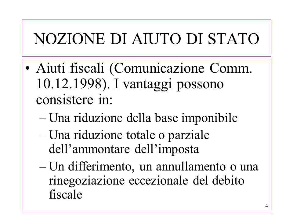 25 AIUTI IN FORMA FISCALE Sentenza CGCE del 15.12.2005, C-66/02 e 148/04, Agevolazioni fiscali concesse dallItalia agli operatori bancari (ricorso ex art.