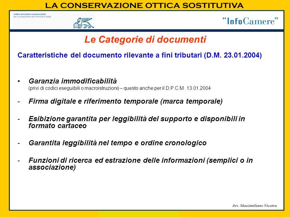 Caratteristiche del documento rilevante a fini tributari (D.M. 23.01.2004) Garanzia immodificabilità (privi di codici eseguibili o macroistruzioni) –