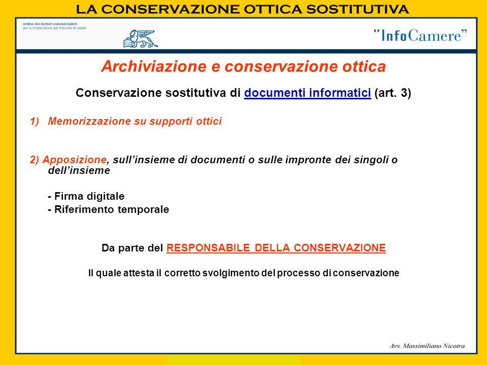 Conservazione sostitutiva di documenti informatici (art. 3) 1)Memorizzazione su supporti ottici 2) Apposizione, sullinsieme di documenti o sulle impro