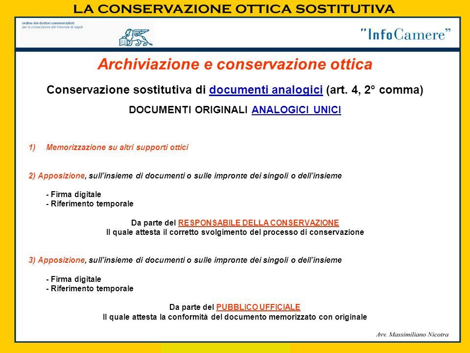Conservazione sostitutiva di documenti analogici (art. 4, 2° comma) DOCUMENTI ORIGINALI ANALOGICI UNICI 1)Memorizzazione su altri supporti ottici 2) A