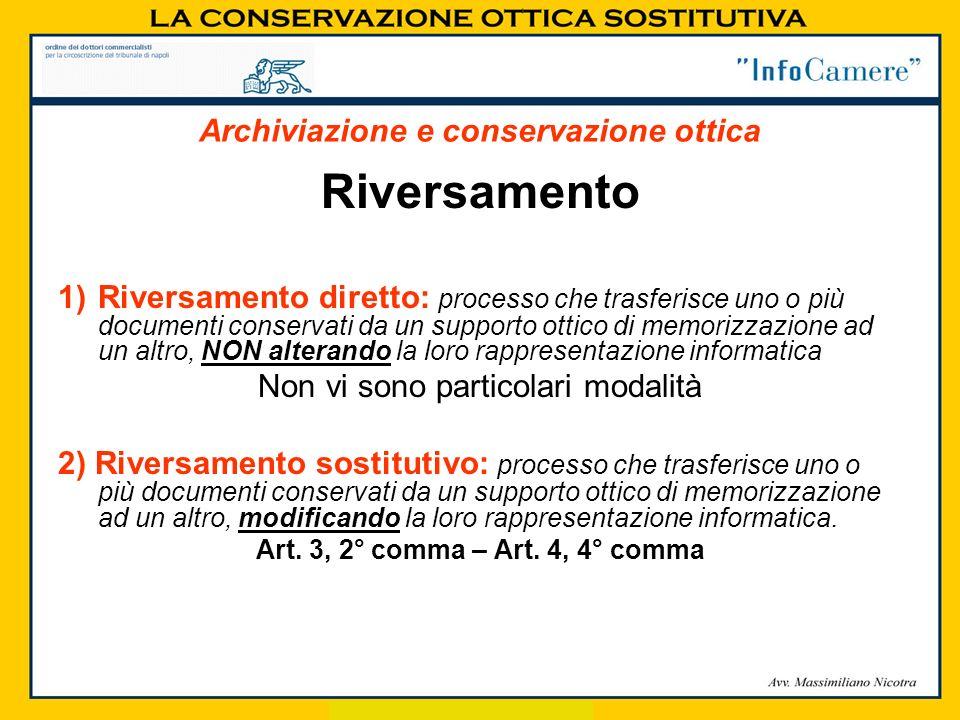 Riversamento 1)Riversamento diretto: processo che trasferisce uno o più documenti conservati da un supporto ottico di memorizzazione ad un altro, NON