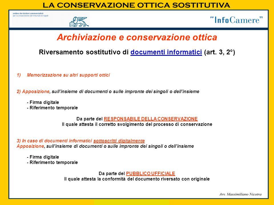 Riversamento sostitutivo di documenti informatici (art. 3, 2°) 1)Memorizzazione su altri supporti ottici 2) Apposizione, sullinsieme di documenti o su