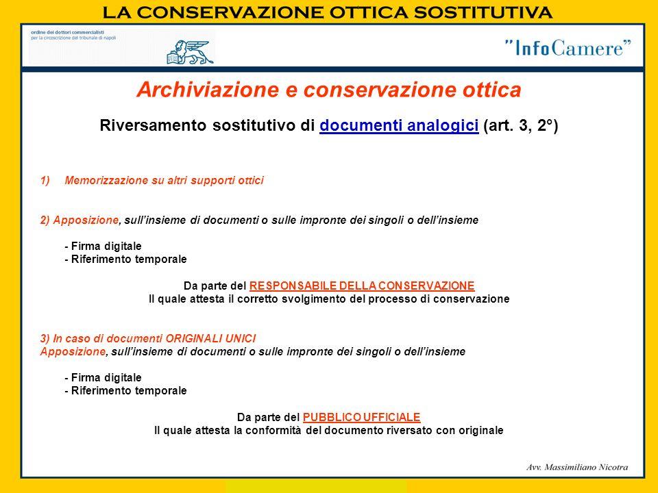 Riversamento sostitutivo di documenti analogici (art. 3, 2°) 1)Memorizzazione su altri supporti ottici 2) Apposizione, sullinsieme di documenti o sull