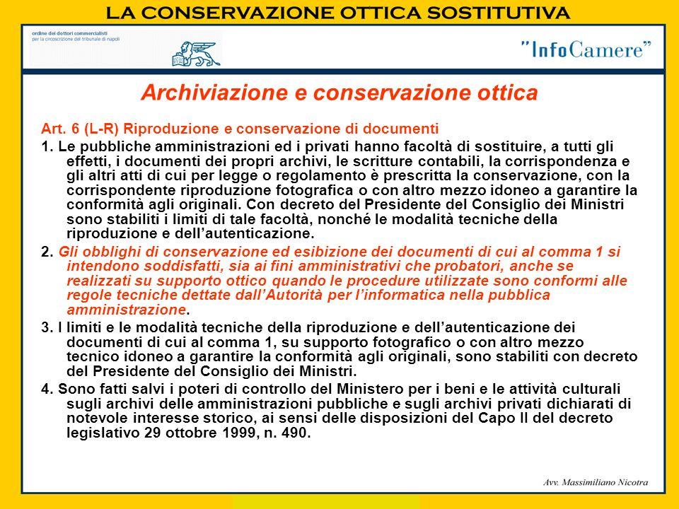 Art. 6 (L-R) Riproduzione e conservazione di documenti 1. Le pubbliche amministrazioni ed i privati hanno facoltà di sostituire, a tutti gli effetti,