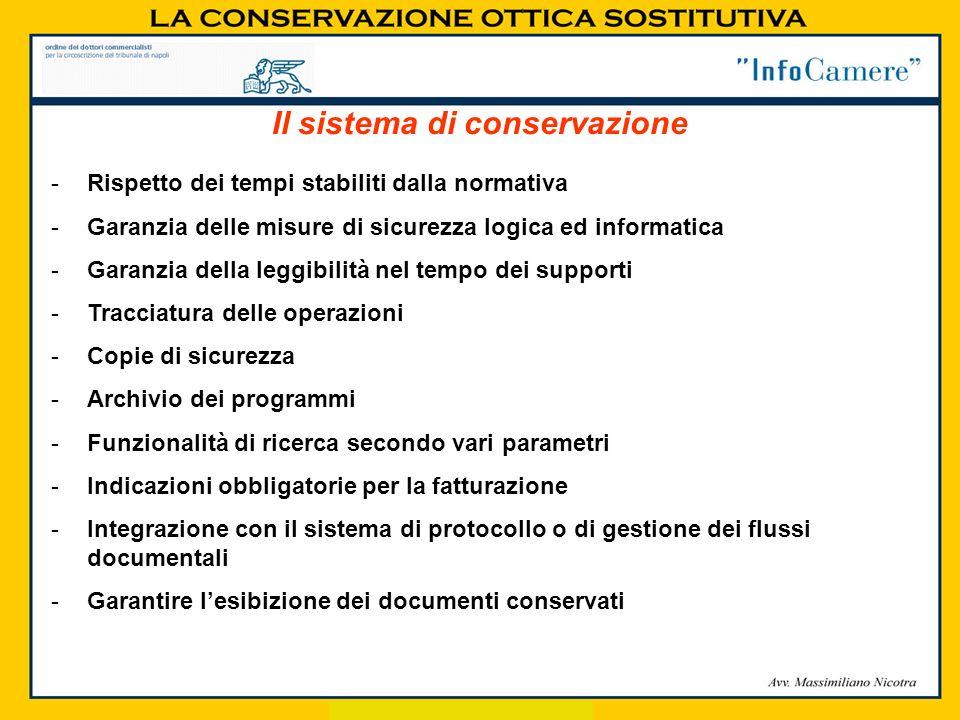 Il sistema di conservazione -Rispetto dei tempi stabiliti dalla normativa -Garanzia delle misure di sicurezza logica ed informatica -Garanzia della le