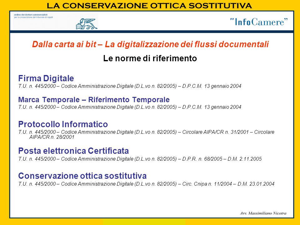 Le norme di riferimento Firma Digitale T.U. n. 445/2000 – Codice Amministrazione Digitale (D.L.vo n. 82/2005) – D.P.C.M. 13 gennaio 2004 Marca Tempora
