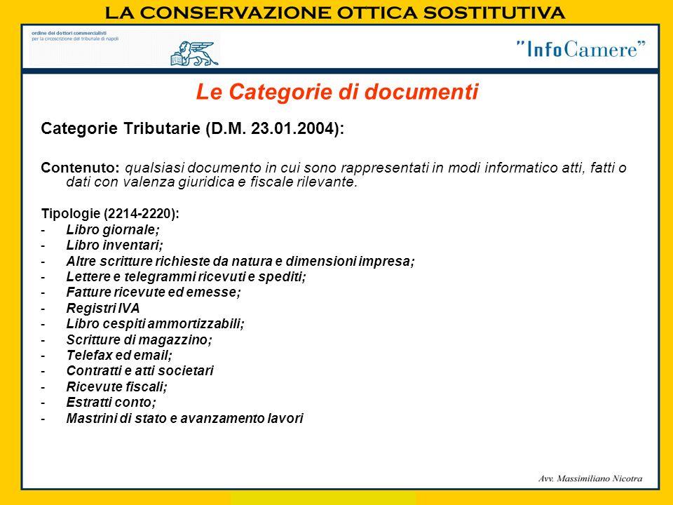 Categorie Tributarie (D.M. 23.01.2004): Contenuto: qualsiasi documento in cui sono rappresentati in modi informatico atti, fatti o dati con valenza gi