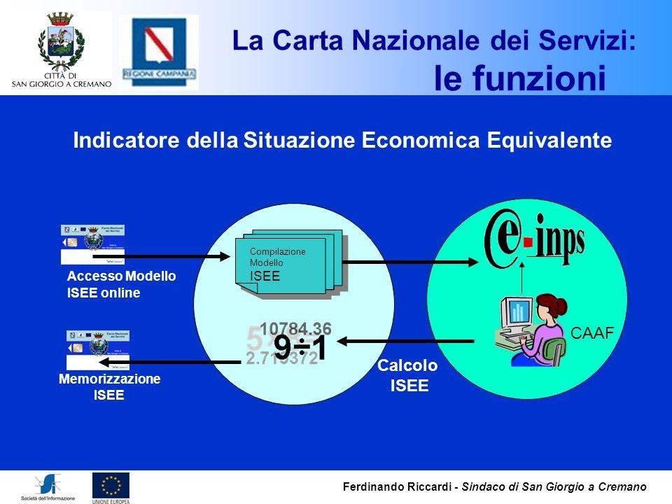 Ferdinando Riccardi - Sindaco di San Giorgio a Cremano Compilazione Modello ISEE Compilazione Modello ISEE CAAF Accesso Modello ISEE online Calcolo IS
