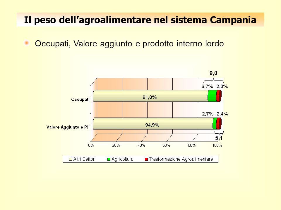 Il peso dellagroalimentare nel sistema Campania Occupati, Valore aggiunto e prodotto interno lordo 9,0 5,1