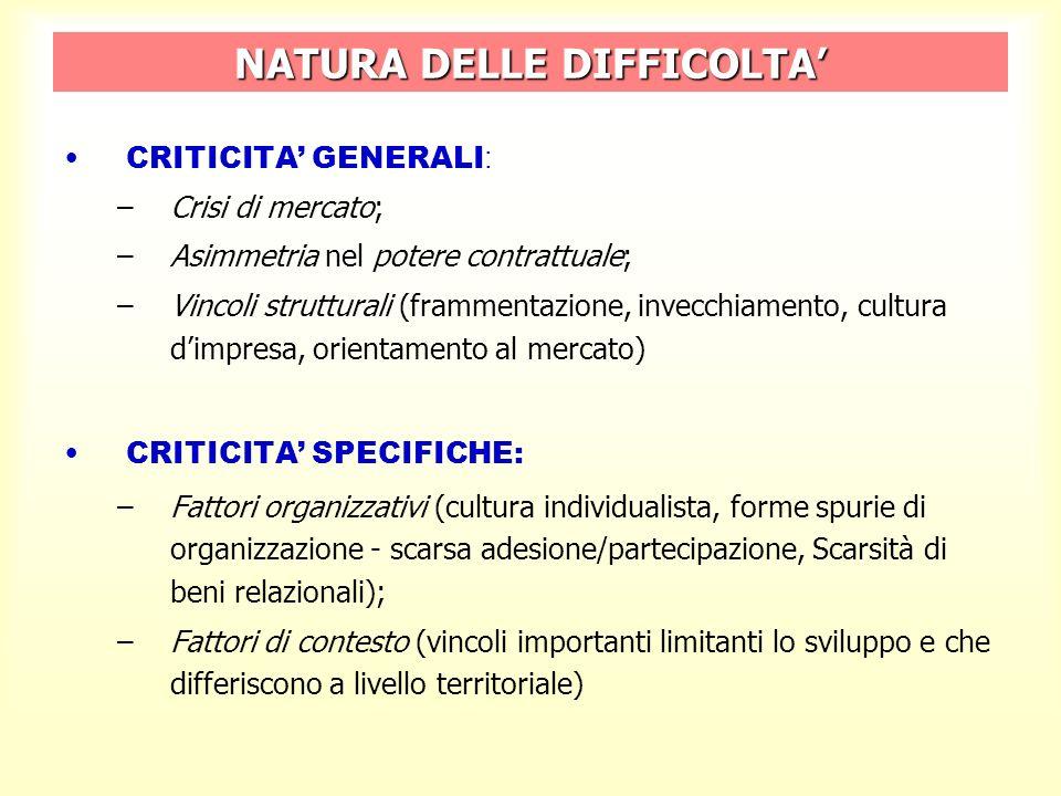 NATURA DELLE DIFFICOLTA CRITICITA GENERALI : –Crisi di mercato; –Asimmetria nel potere contrattuale; –Vincoli strutturali (frammentazione, invecchiamento, cultura dimpresa, orientamento al mercato) CRITICITA SPECIFICHE: –Fattori organizzativi (cultura individualista, forme spurie di organizzazione - scarsa adesione/partecipazione, Scarsità di beni relazionali); –Fattori di contesto (vincoli importanti limitanti lo sviluppo e che differiscono a livello territoriale)