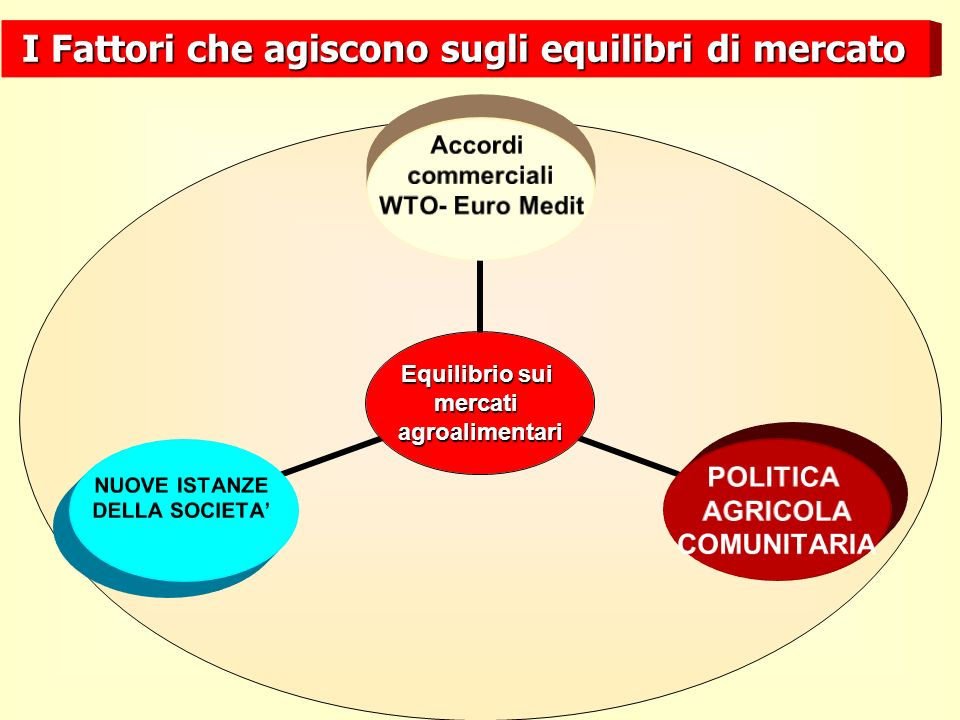 Equilibrio sui mercatiagroalimentari Accordi commerciali WTO- Euro Medit POLITICA AGRICOLA COMUNITARIA NUOVE ISTANZE DELLA SOCIETA I Fattori che agiscono sugli equilibri di mercato