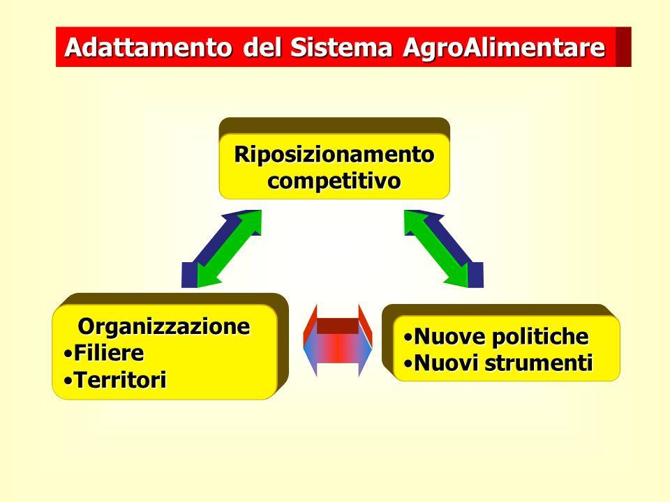 Adattamento del Sistema AgroAlimentare Riposizionamento competitivo Nuove politicheNuove politiche Nuovi strumentiNuovi strumenti Organizzazione FiliereFiliere TerritoriTerritori