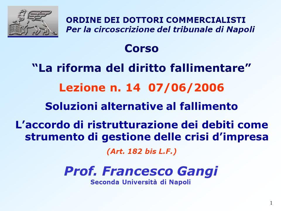 1 Corso La riforma del diritto fallimentare Lezione n. 14 07/06/2006 Soluzioni alternative al fallimento Laccordo di ristrutturazione dei debiti come