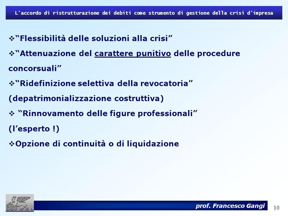 10 Laccordo di ristrutturazione dei debiti come strumento di gestione della crisi dimpresa prof. Francesco Gangi Flessibilità delle soluzioni alla cri