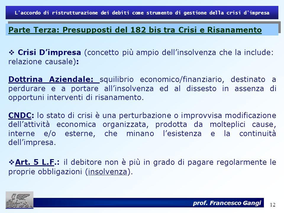 12 Laccordo di ristrutturazione dei debiti come strumento di gestione della crisi dimpresa prof. Francesco Gangi Crisi Dimpresa (concetto più ampio de