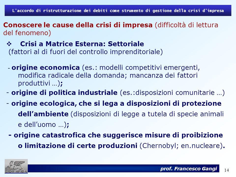14 Laccordo di ristrutturazione dei debiti come strumento di gestione della crisi dimpresa prof. Francesco Gangi Conoscere le cause della crisi di imp
