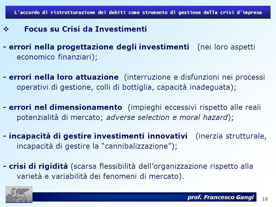 16 Laccordo di ristrutturazione dei debiti come strumento di gestione della crisi dimpresa prof. Francesco Gangi Focus su Crisi da Investimenti - erro