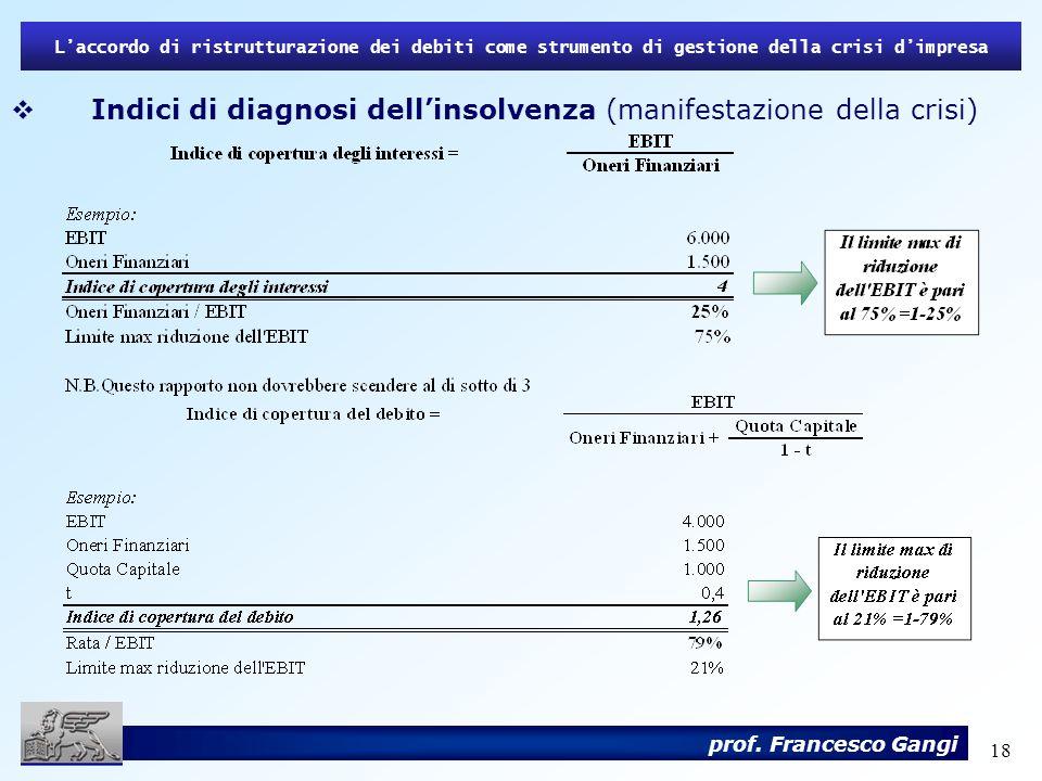 18 Laccordo di ristrutturazione dei debiti come strumento di gestione della crisi dimpresa prof. Francesco Gangi Indici di diagnosi dellinsolvenza (ma