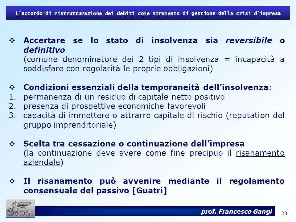 20 Laccordo di ristrutturazione dei debiti come strumento di gestione della crisi dimpresa prof. Francesco Gangi Accertare se lo stato di insolvenza s