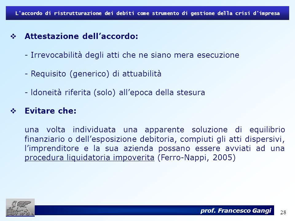 28 Attestazione dellaccordo: - Irrevocabilità degli atti che ne siano mera esecuzione - Requisito (generico) di attuabilità - ldoneità riferita (solo)