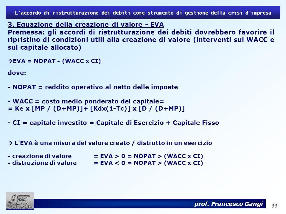 33 3. Equazione della creazione di valore - EVA Premessa: gli accordi di ristrutturazione dei debiti dovrebbero favorire il ripristino di condizioni u