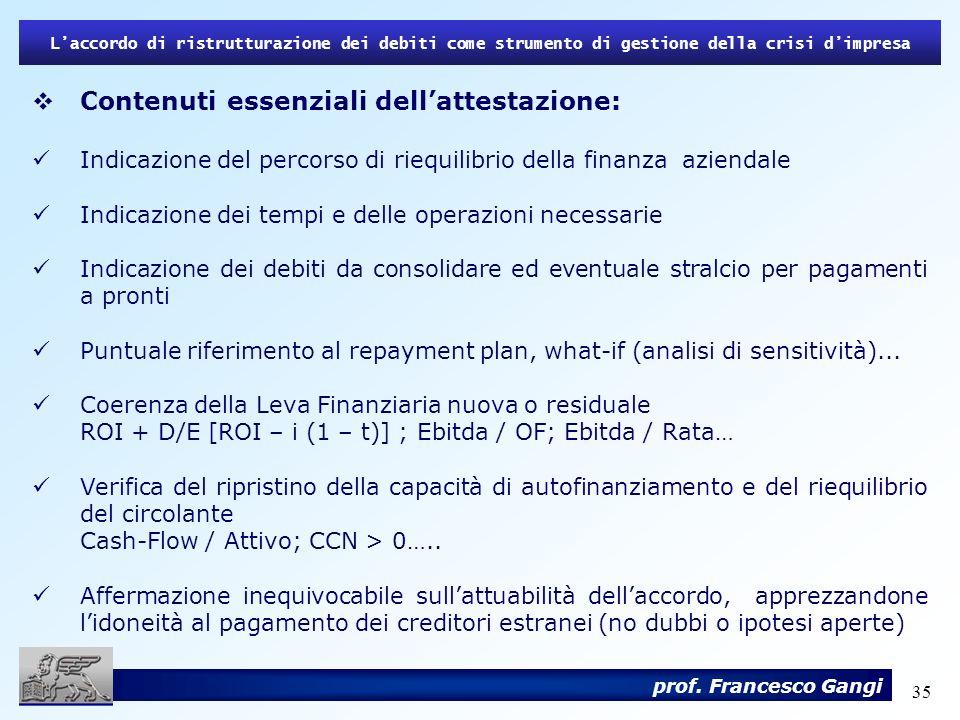 35 Contenuti essenziali dellattestazione: Indicazione del percorso di riequilibrio della finanza aziendale Indicazione dei tempi e delle operazioni ne