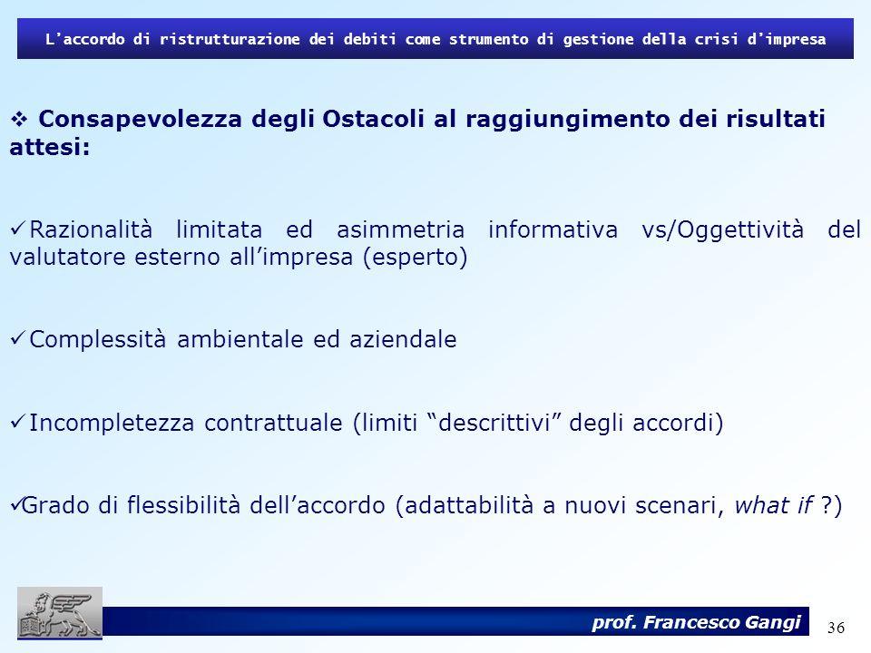 36 Laccordo di ristrutturazione dei debiti come strumento di gestione della crisi dimpresa prof. Francesco Gangi Consapevolezza degli Ostacoli al ragg