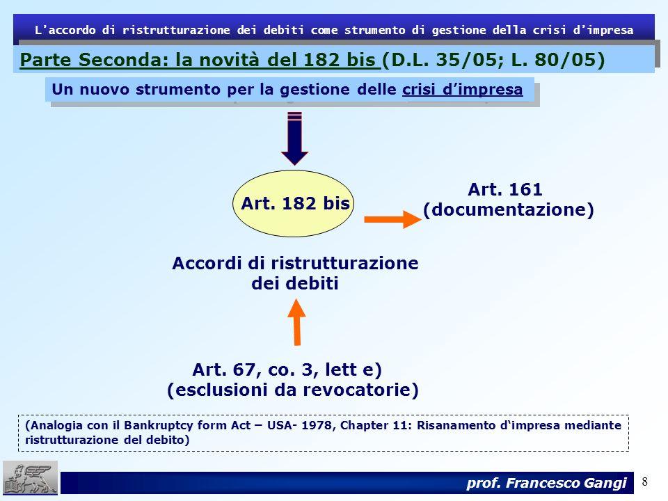 8 Laccordo di ristrutturazione dei debiti come strumento di gestione della crisi dimpresa prof. Francesco Gangi Art. 161 (documentazione) Art. 182 bis